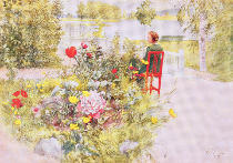 Carl Larsson - Summer in Sundborn, 1913, from a commercially printed portfolio, published in 1939