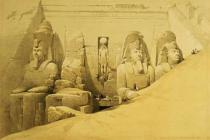 David Roberts - Front Elevation of the Great Temple of Aboo Simbel, Nubia, plate 44 from volume II of 'Egypt and Nubia', engraved by Louis Haghe