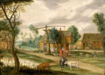 Isaak van Oosten - A village landscape with a woman drawing water from a well