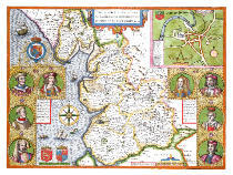 John Speed - Lancashire in 1610, from John Speed's 'Theatre of the Empire of Great Britaine', first edition, pub. 1611-12