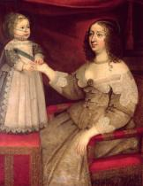 French School - Anne of Austria (1601-66) with her son Louis XIV (1638-1715)