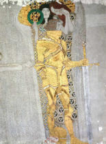 Gustav Klimt - The Knight detail of the Beethoven Frieze, said to be a portrait of Gustav Mahler (1860-1911), 1902