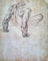 Michelangelo Buonarroti - W.63r Study of a male nude, leaning back on his hands