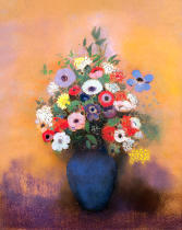 Odilon Redon - Anemones and lilac in a Blue Vase, after 1912