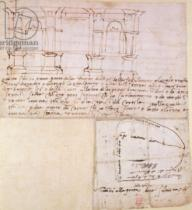 Michelangelo Buonarroti - W.23r Architectural sketch with notes