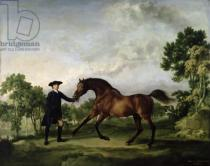 George Townley Stubbs - The Duke of Ancaster's bay stallion 'Blank', held by a groom, c.1762-5