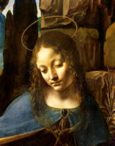Leonardo da Vinci - The Virgin of the Rocks  detail of the head of the Virgin, c.1508  (detail of 28916)