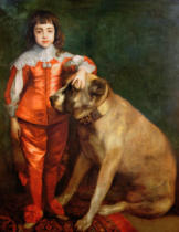 Sir Anthony nach van Dyck - Full length portrait of Charles II as a boy with a mastiff
