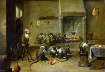 David Teniers - Monkeys in a Kitchen, c.1645