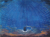 Karl Friedrich Schinkel - The Palace of the Queen of the Night, set design for 'The Magic Flute' by Wolfgang Amadeus Mozart (1756-91) for a production in