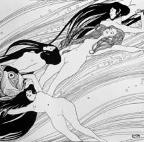 Gustav Klimt - The Blood of Fish, published in 'Ver Sacrum' magazine, 1898