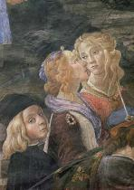 Sandro Botticelli - The Purification of the Leper and the Temptation of Christ, in the Sistine Chapel: detail of two women and a young boy in the cr