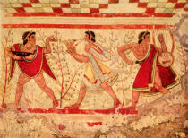Unbekannt - Etruscan musicians, copy of a 5th century BC fresco in the Tomb of the Leopard at Tarquinia