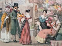 John James Chalon - At the Milliners , printed by Charles Joseph Hullmandel (1789-1850), pub. by Rodwell and Martin, 1822