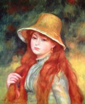Pierre Auguste Renoir - Young girl with long hair, or Young girl in a straw hat, 1884