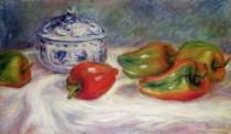 Pierre Auguste Renoir - Still life with a sugar bowl and red peppers, c.1905