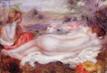Pierre Auguste Renoir - Bather reclining and a young girl doing her hair, 1896