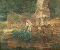 Ferdinand Georg Waldmüller - The Roman Ruins in the Gardens of Schonbrunn Palace