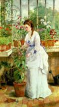 Jane Maria Bowkett - Young Lady in a Conservatory