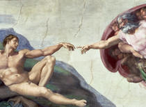 Michelangelo Buonarroti - Sistine Chapel Ceiling: Creation of Adam, detail of the outstretched arms, 1510