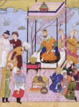 Persian School - Khamsa of Nizami in a pavilion among followers and attendants, c.1590
