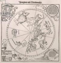 Albrecht Dürer - Map of the Southern Sky, with representations of constellations, decorated with the crest of Cardinal Lang von Wellenburg, and a