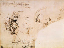 Leonardo da Vinci - Study of two male heads, parts of machinery and mirror writing