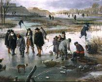 Aert van der Neer - Ice Skating outside the City Walls, detail of ice hockey players