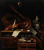 Pieter Gerritsz. van Roestraten - Still life with musical instruments
