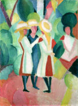 August Macke - Three girls in yellow straw hats, 1913,