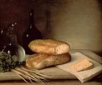 Claude Joseph Fraichot - Still Life with Bread, Cheese and a Flagon of Wine