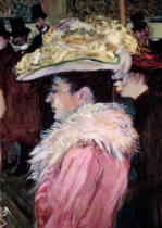 Henri de Toulouse-Lautrec - The Dance of the Moulin Rouge: detail of an elegant woman dressed in pink, 1889-90 (detail of 490)
