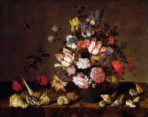 Balthasar van der Ast - Still life of a vase of flowers with shells