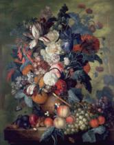 Jacob van Huysum - A Vase of Flowers with Fruit