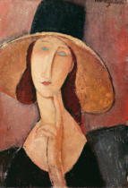 Amedeo Modigliani - Portrait of Jeanne Hebuterne in a large hat, c.1918-19