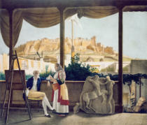 Louis Dupre - The French Consul, Monsieur Fauvel, on the terrace of his house in Athens, engraved by the Thierry Brothers, 1825