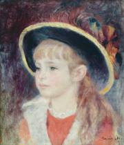 Pierre Auguste Renoir - Portrait of a Young Girl in a Blue Hat, 1881