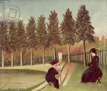 Henri J.F. Rousseau - The Artist Painting his Wife, 1900-05