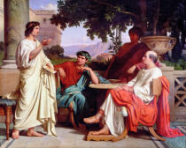 Charles Francois Jalabert - Horace, Virgil and Varius at the house of Maecenas