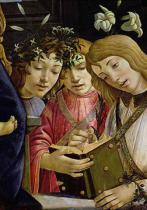 Sandro Botticelli - Madonna and child with the young St. John the Baptist and angels: detail showing three angels  (detail of 44353)