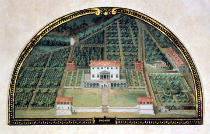 Giusto Utens - Villa Poggio a Caiano from a series of lunettes depicting views of the Medici villas, 1599