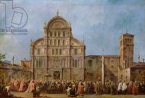 Francesco Guardi - Easter Procession of the Doge of Venice at the Church of San Zaccaria, c.1766-70