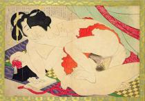 Katsushika Hokusai - A couple engaged in sexual act, c.1880's/90's