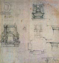 Michelangelo Buonarroti - Inv. 1859 6-25-545. R. (W. 25) Designs for tombs