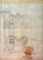 Michelangelo Buonarroti - Inv. L859 6-25-823. R. (W.27) Design for a tomb