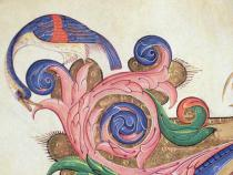 Filippo di Matteo Torelli - Detail of Missal 515 f.169r Fantastical bird peering around foliage, detail of decoration surrounding an historiated initial fro