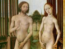 Rogier van der Weyden - Triptych of the Redemption, left panel: Adam and Eve chased out of Paradise, 1455-59