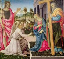 Fra Filippo Lippi - Annunciation with St. Joseph and St. John the Baptist, c.1485