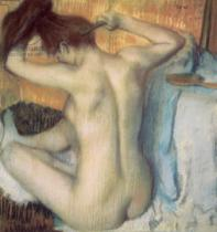 Edgar Degas - Woman combing her hair, c.1885