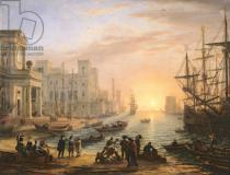Claude Lorrain - Sea Port at Sunset, 1639